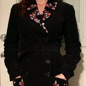 Betsey Johnson New York Corduroy Trench Coat Black